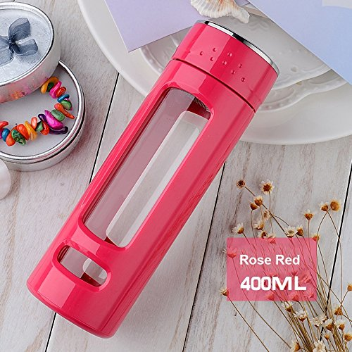 iRSE Tea Infuser bottle Tumbler glass with plastic housing and stainless steel strainer for Loose Leaf Tea Maker travel thermos teapot filter ice drink fruit water herbs spices detox 14 oz (Pink)