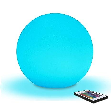 20cm Lámpara Bola LED, Luz Nocturna Infantil Recargable, 8 Brillo Regulables - 16 Colores RGB Ajustables - 4 Modos de Color-cambiante, Lámpara de Mesa ...
