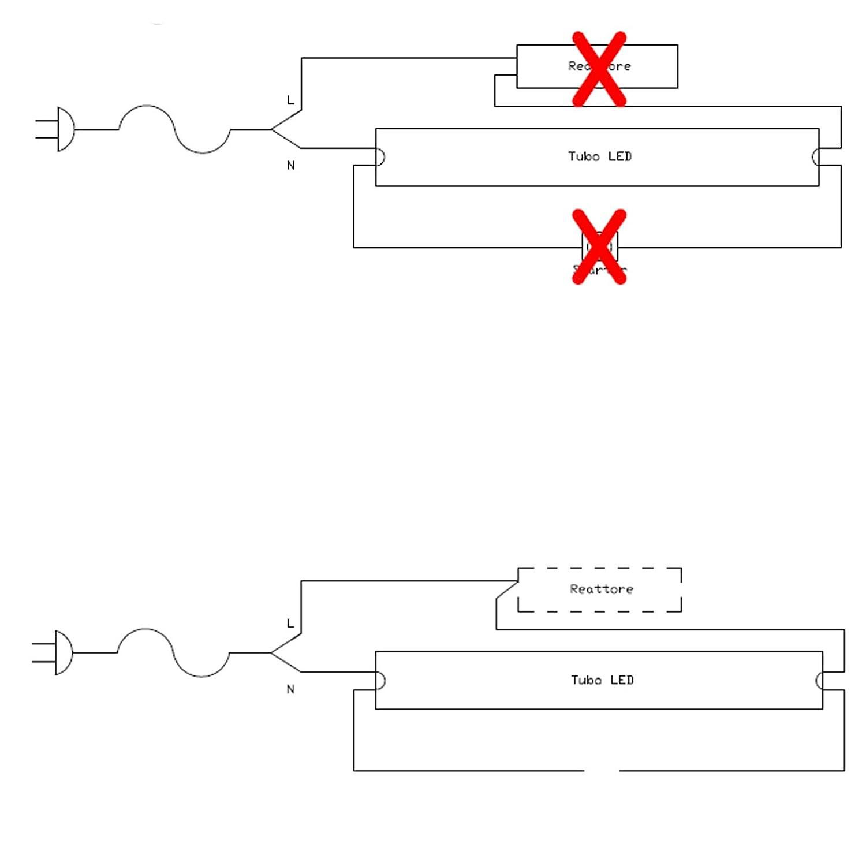 Schema Collegamento Neon : Tubo neon a led watt cm t luce bianca fredda k