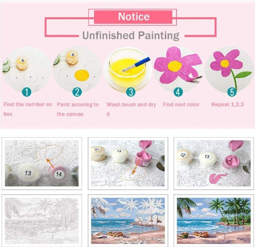 DIY Oil Painting Paint by Numbers for Adults Kids Beginner,Smoking Girl with Red Rose,Dightal Oil Painting Canvas Acrylic Paint Plot for Home Wall Decoration 16X20 Inch.