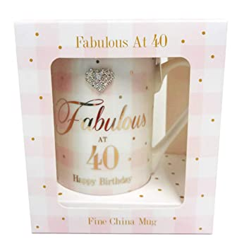Card And Party Store Fabulous At 40 Tasse Happy Birthday Mit Geschenk Zum Milestone