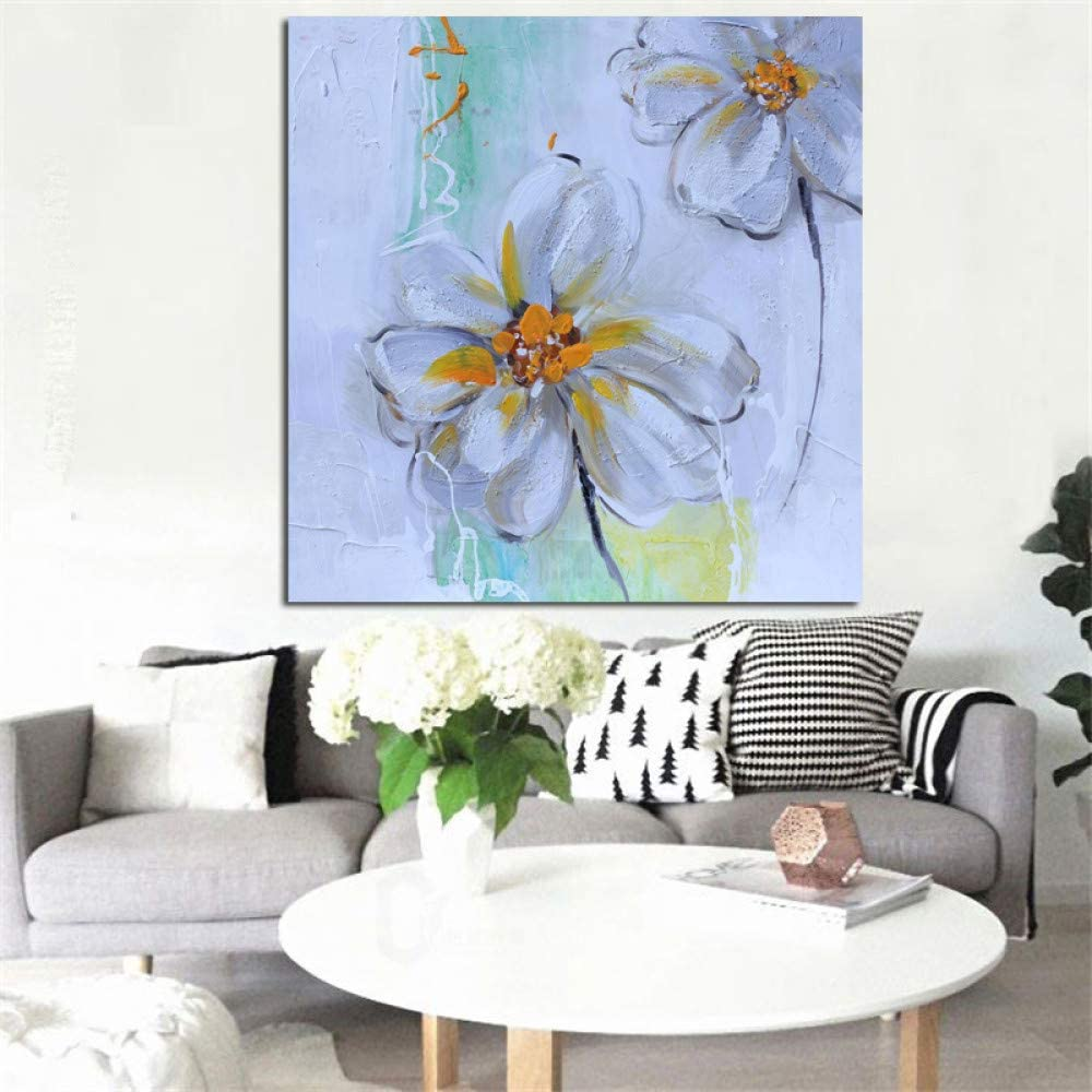 Flor blanca Pintura al óleo sobre lienzo Pop Art moderno Imprimir imagen de la pared para la decoración de la sala de estar A 50x50CM