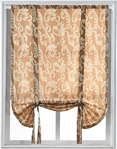 NAPEARL Jacquard Tie Up Balloon Curtain for Small Winow 55 Wx63 L, Beige