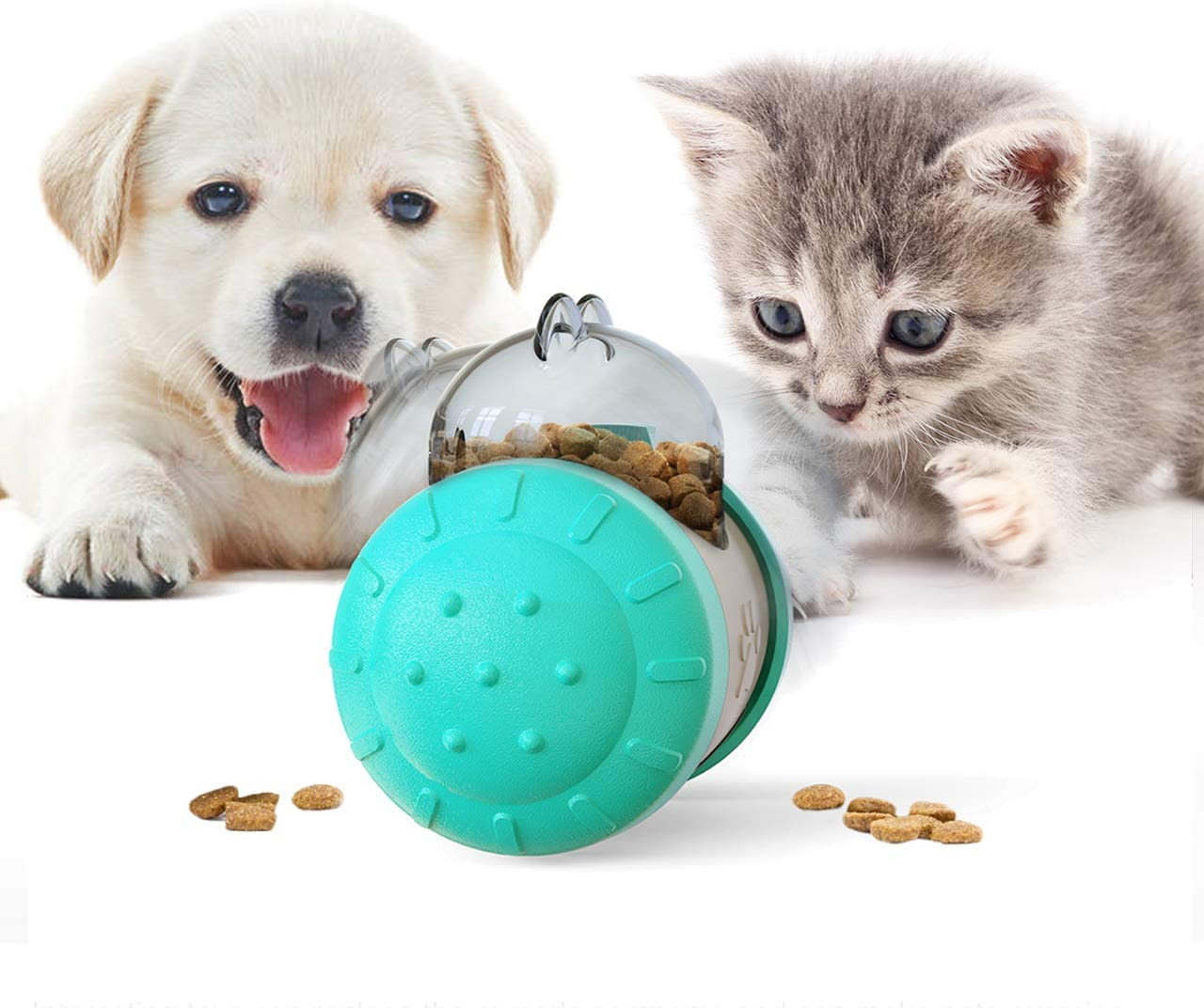 PetsBark Treat Dispensing Dog Cat Toys,Interactive Wobble Dog Puzzle Toys,IQ Dog Treat Ball