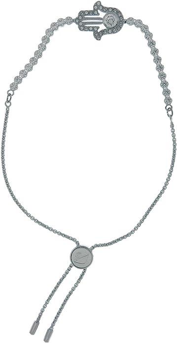Sterling Silver Rhodium-plated Enamel Hamsa wCZ pendant New Charm