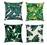 Restbuy Plant Cushion Cover Green Tropical Plant Cushion Case Rest Pillow Cover Palm Leaf Tropical Plants Throw Pillowcase Pillow Covers Home Decor Cushion with Leaves Print