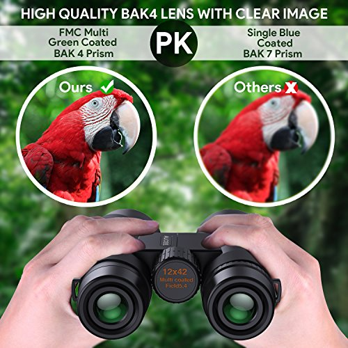 12 x 42 Binoculars for Adults, AUCEE Compact Binoculars for Bird Watching Concerts Football Sports Waterproof Professional HD Binoculars for Travel Hiking-BAK4 Prism FMC Lens with Strap Carry Bag by AUCEE (Image #3)