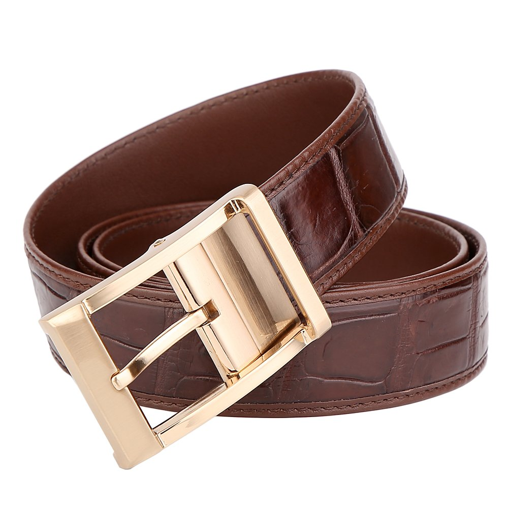 BOMEANS Crocodile Belt Men Real Leather Casual Waistband Pin Buckle Trouser Belt