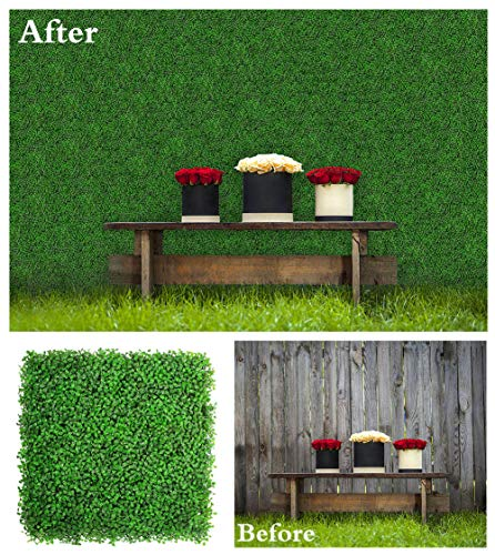 (ULAND 12 Piece Artificial Boxwood Decorative Fence Faux, Ivy Leaf Hedge Privacy Panel Cover Windscreen Patio, 20