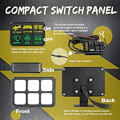 6 Gang Switch Panel, Swatow Industries Electronic Relay System Circuit Control Box Universal Touch Switch Box Power System for Truck Car Jeep SUV ATV UTV Boat Marine Waterproof: Automotive
