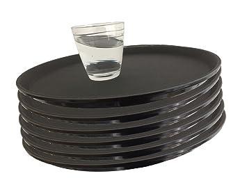6 x wellgro® Gastro – Bandeja redonda (Diámetro de 35 cm, Negro –