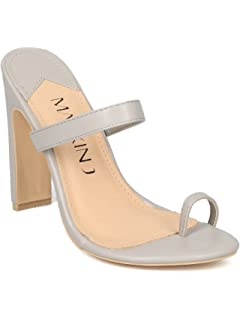 16a3684a247a49 Alrisco Leatherette Toe Ring Wide Heel Sandal HG88