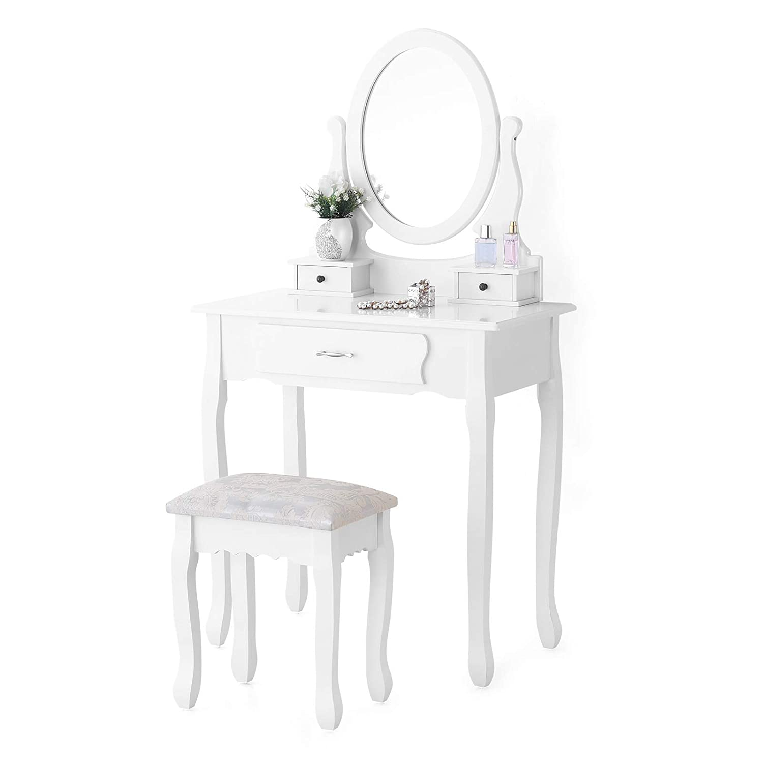 Mecor Girls Vanity Table Set with Oval Mirror/ 3 Drawers, Wood Makeup Dressing Table w/Cushioned Stool (Black) 1030303200
