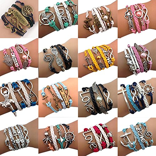Bracelet Womens Rope Bracelet (ThyWay 16pcs Handmade Braided Multi Layers Vintage Woven Rope Wrap Bangle Bracelets - Infinity Love)