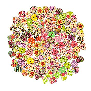 color1 25 Pieces Sannysis  Heart Shaped Painted 2 Hole Wooden Buttons 20mm x 22mm