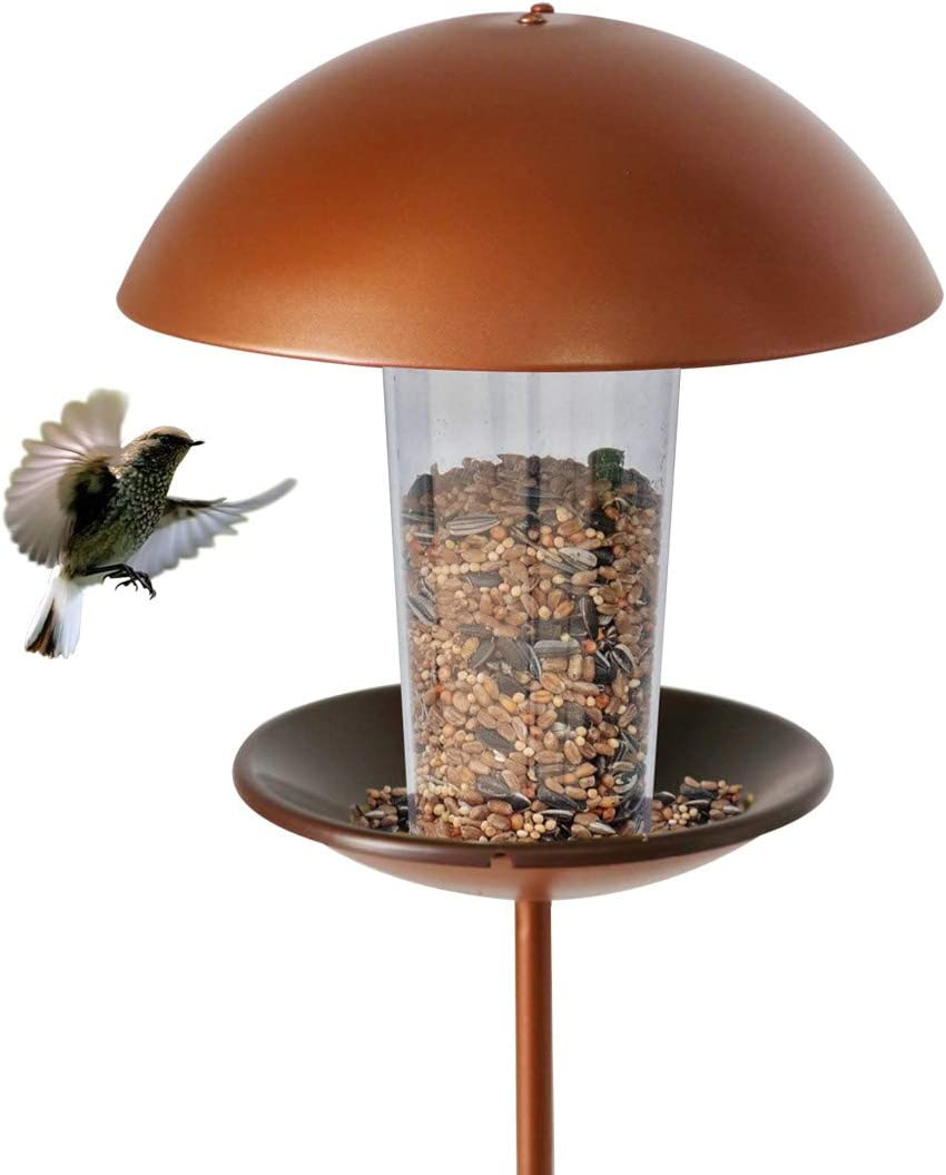 Goodeco Round Metal Bird feeders for Outside with Stand,Wild Bird feeders Poles in Backyard Garden,Yard,Patio,Gift idea for Parents and Nature Lovers