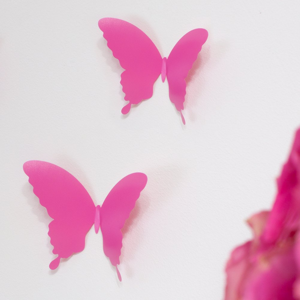 WANDKINGS Schmetterlinge im 3D-Style in PINK, 12 Stück ...