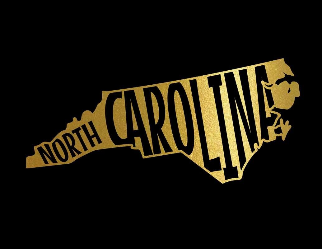 ND373G State Of North Carolina Block Decal Sticker | 5.5-Inches By 2.5-Inches | Premium Quality Gold Vinyl