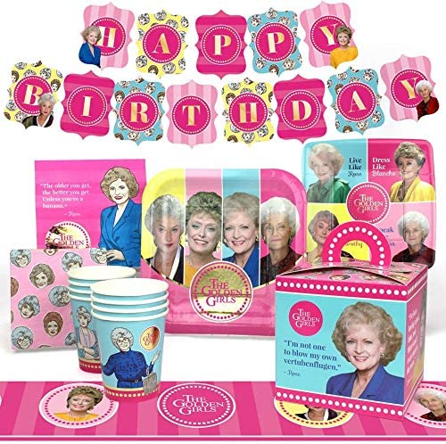 Amazon Com Golden Girls Party Supplies Deluxe Golden Birthday Party Pack 66 Piece Set By Prime Party Toys Games