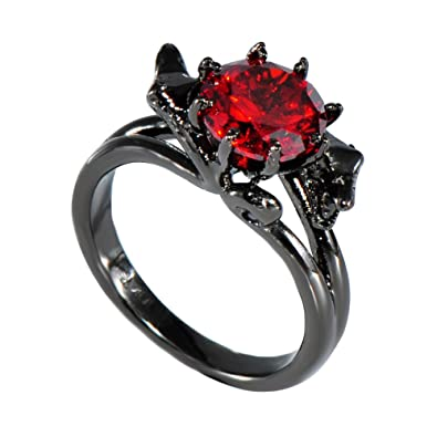 Amazon Com Bamos Jewelry Womens Red Bright Stone Black Gold Plated