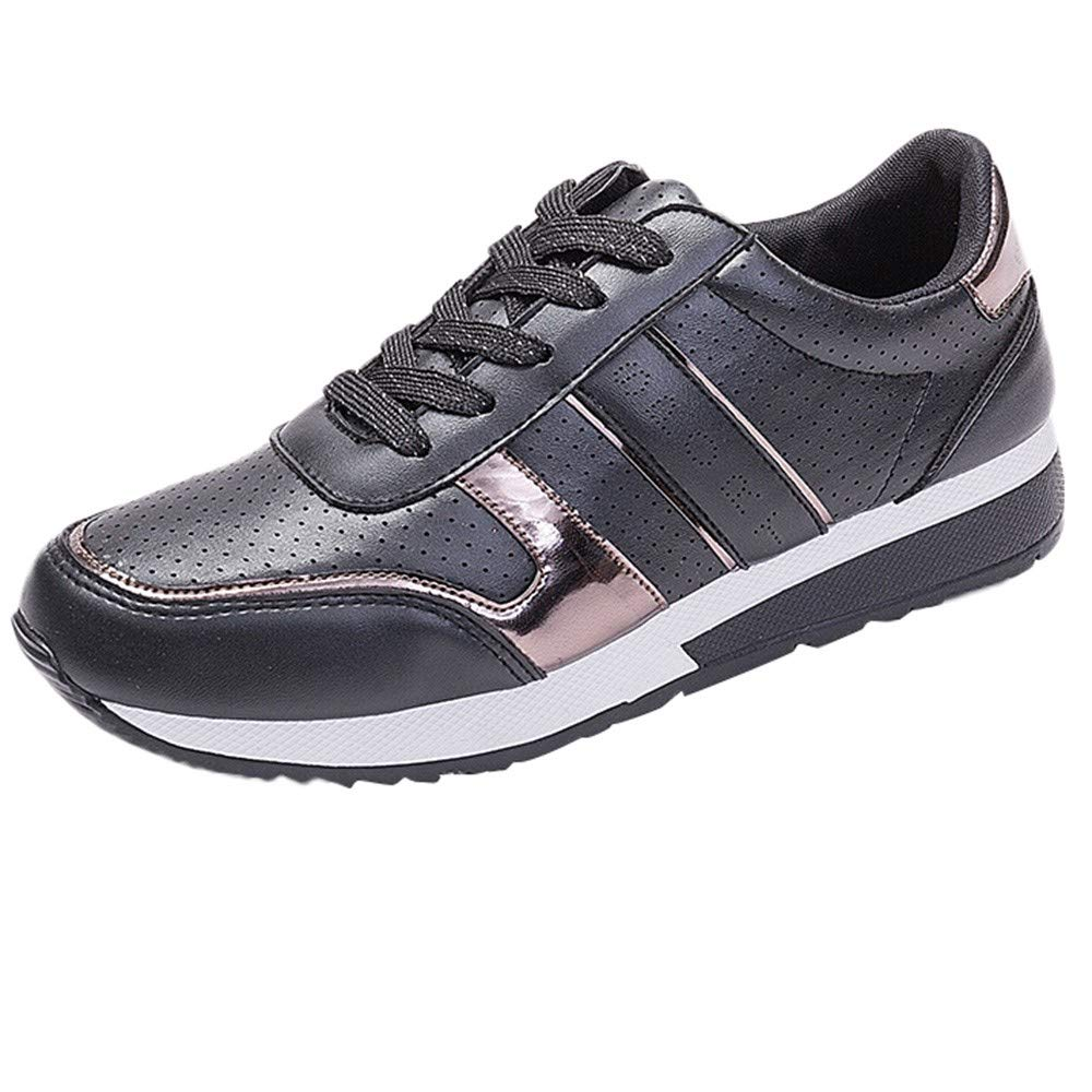 Sylar Zapatillas De Deporte Mujer Running Zapatos Cuero Transpirable De PU Lentejuelas Cosiendo Color Sólido Zapatillas De Cordones Zapatos Casuales