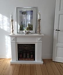 Elegante Kaminumrandung Kaminumbau Kaminkonsole MDF Weiß