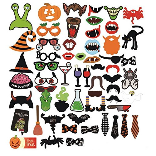 Funny Halloween Pictures (Sugoiti Halloween Photo Booth Props 59 Pieces DIY Kit Funny Dress-up Accessories for Party Reunions Carnival)