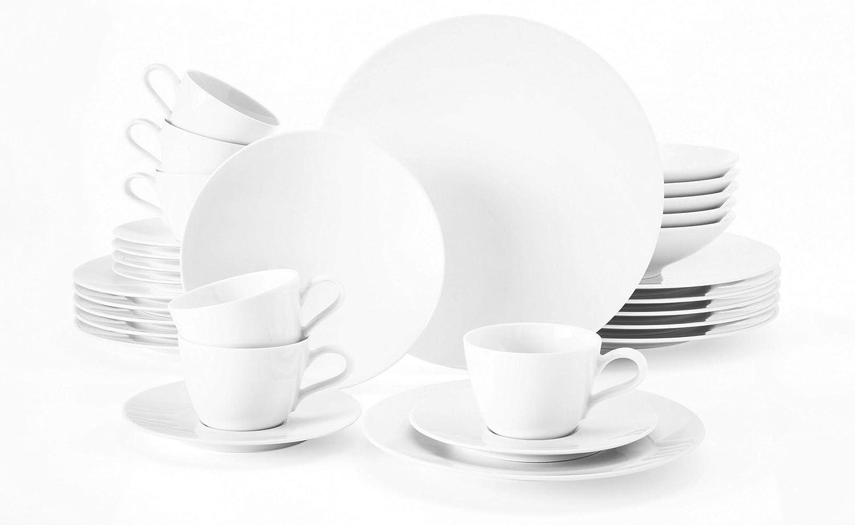 beinhaltet je 6 Fr/ühst/ücksteller Serie Top Life Set f/ür bis zu 6 Personen Kaffeeober-und Untertassen Hartporzellan Seltmann Weiden Kaffeeservice 18-teilig wei/ß