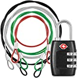 DanziX TSA Approved Lock and 4 Colors Stainless Steel Safety Tether,3-Dial Combination Travel Luggage Lock with Lanyard Security Cable for Protect your Different Sizes of Bags,Suitcase,Baggage