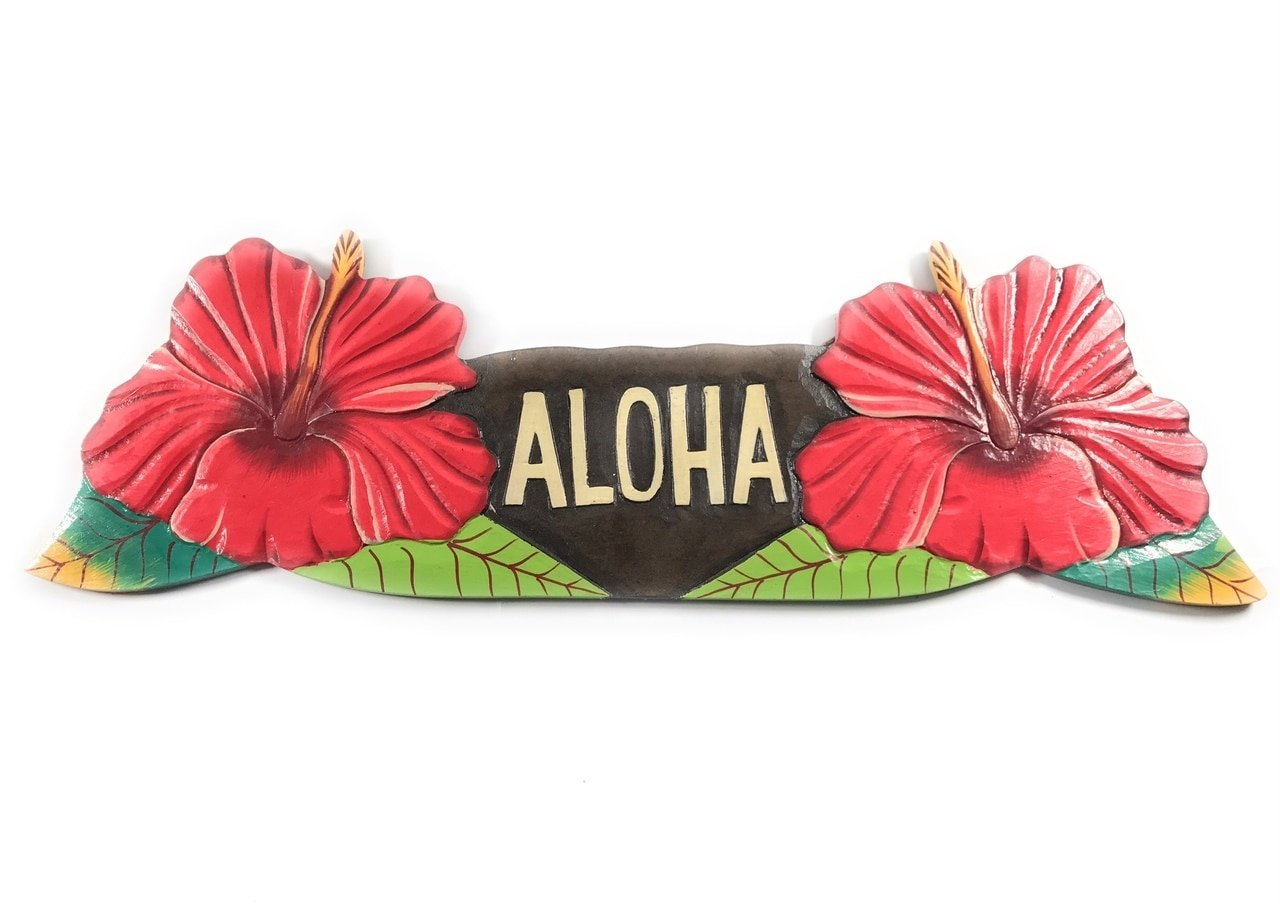 Tikimaster Aloha Sign w/Red Hibiscus Flowers - Hand Painted Hawaii | #ksa9027