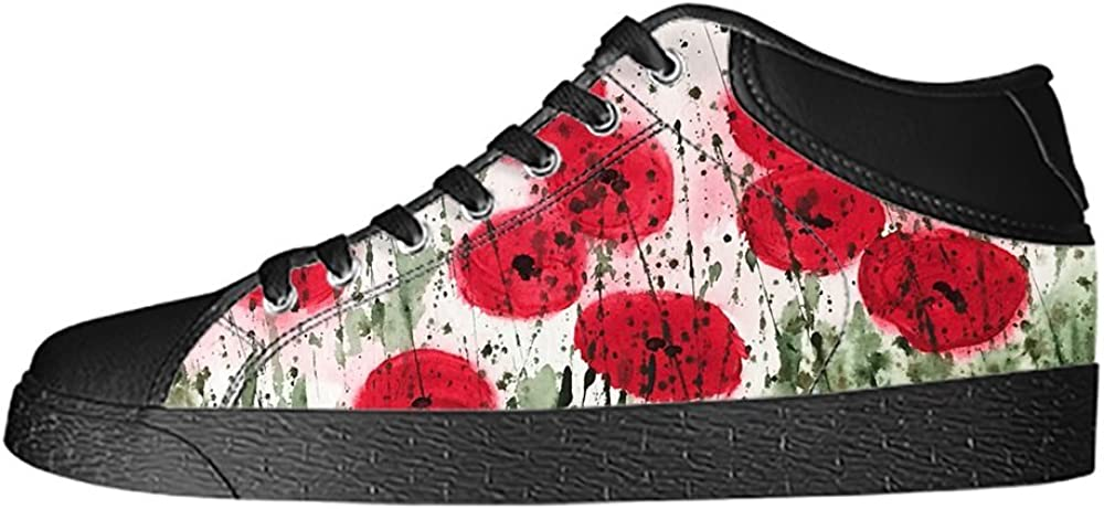 Custom Red Poppy Mens Classic High Top Canvas Shoes Fashion Sneaker