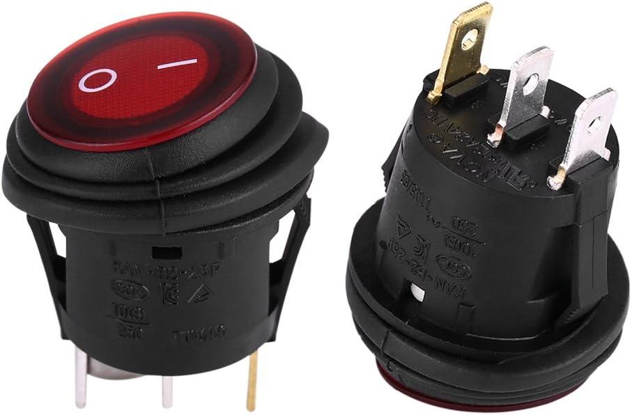 Interruptor basculante LED encendido//apagado redondo 2pcs Qiilu 12V 20A 3 pines Interruptor impermeable para barco coche marina cami/ón RV