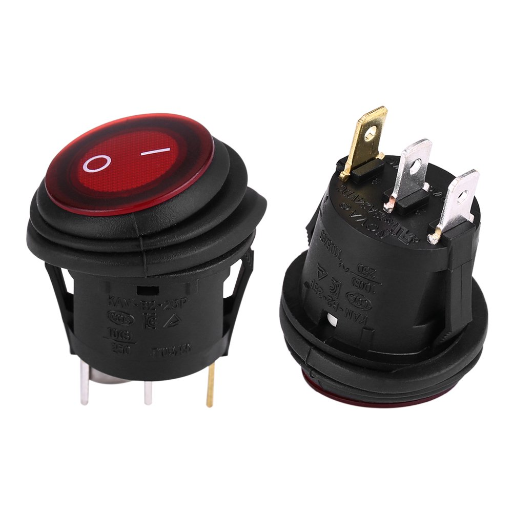 12V 20A 3Pin Car Auto Boat Truck Round On-Off Rocker Toggle Switch Waterproof On-Off Control SPDT Snap 2 pcs Rocker Toggle Switchs Red LED Light