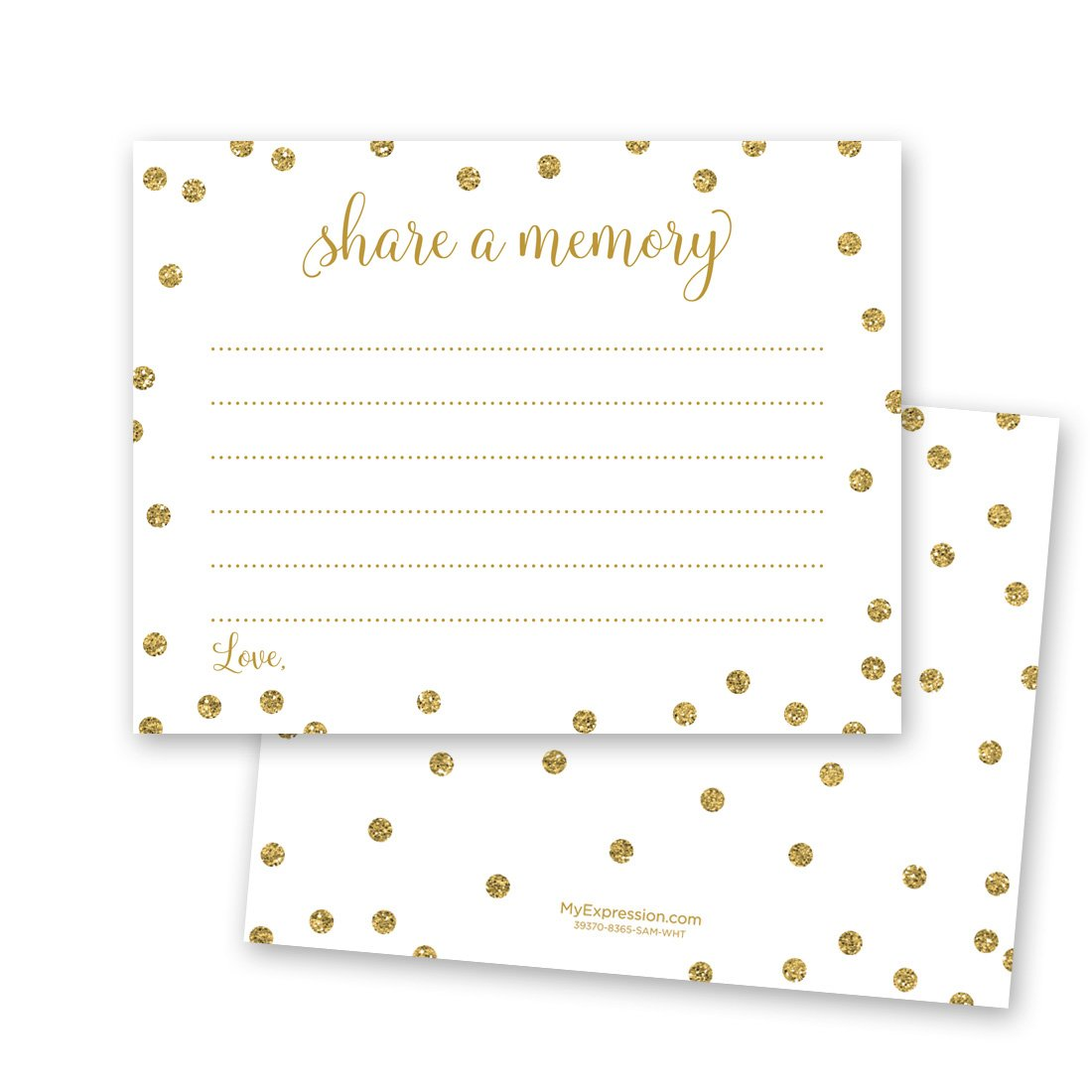 48 Cnt Share a Memory Cards (Faux Gold Glitter on White) - Not Real Glitter