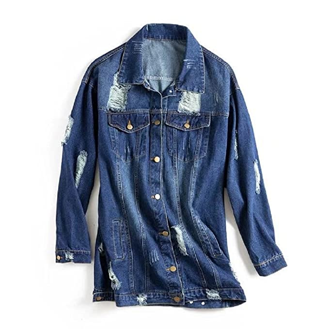 06df008685826 JudyBridal Womens Long Sleeves Oversized Flower Embroidery Ripped Denim  Jacket Blue M