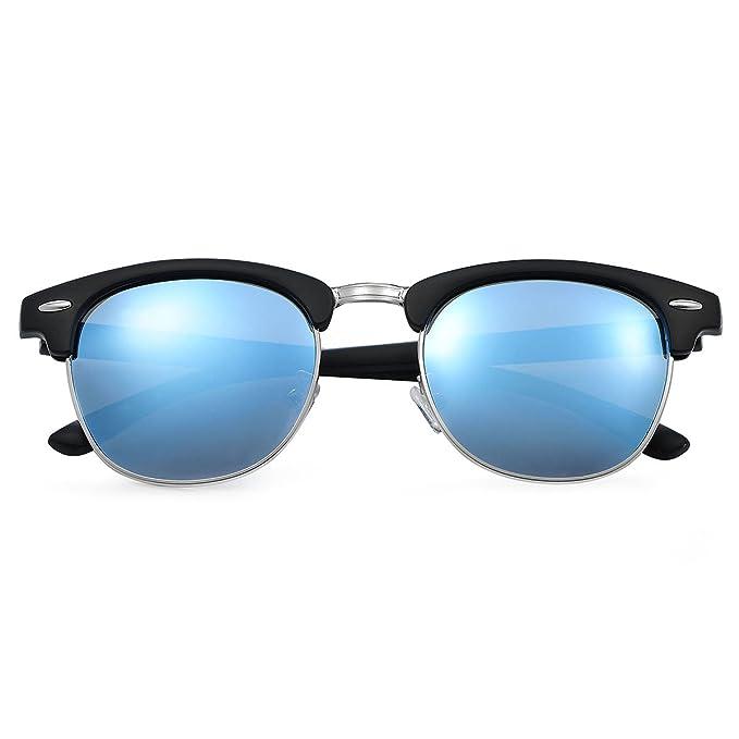 0d685324f Yveser Gafas de sol polarizadas para hombre y mujer Yv5156 (Lente  Azul/Marco Mate