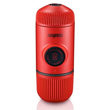 Wacaco Nanopresso Portable Espresso Maker, Upgrade Version of Minipresso, 18 Bar Pressure, Red Patrol Edition, Extra Small Travel Coffee Maker, Manually Operated. Perfect for Kitchen and Office