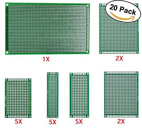 20 Pack Double Sided Prototyping Boards || Easy Solder Holes || PerfBoard Snaps Apart with Ease || Perfect for Electrical Engineers and Students || Build and Test Circuitry |