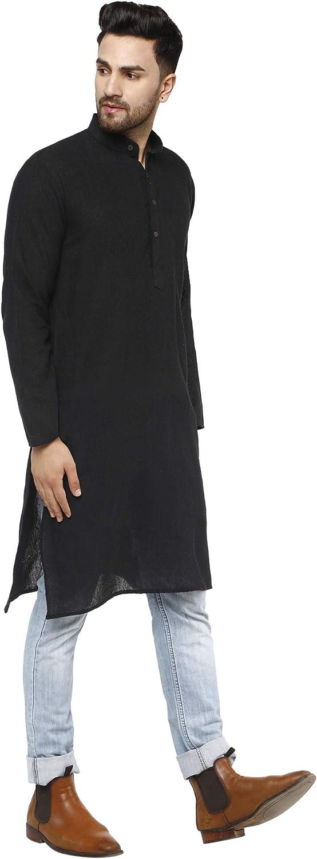 SKAVIJ Mens Casual Khadi Kurta Shirt Long Sleeve Regular Fit