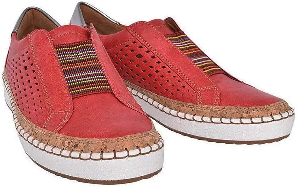 Casual Tennis Shoes Miuye yuren Fashion Sneaker Slip on Comfortable Flats Walking Hollow Shoes