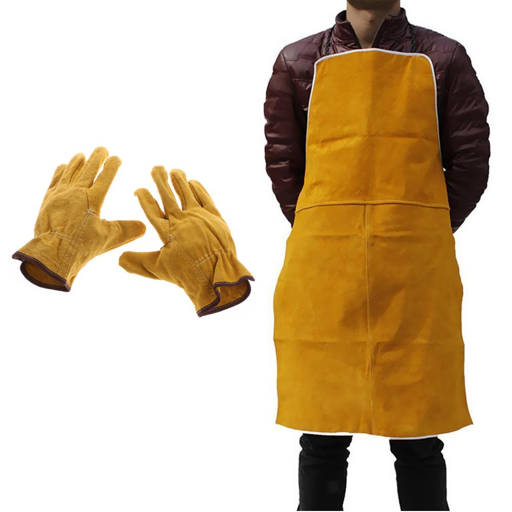 Ginode Leather Blacksmith Apron 35 x 24 Inch Fire Resistant Welding/Welder Smock with 1Pair Leather Welding Gloves for Tig Welderg/Mig/Fireplace/Stove