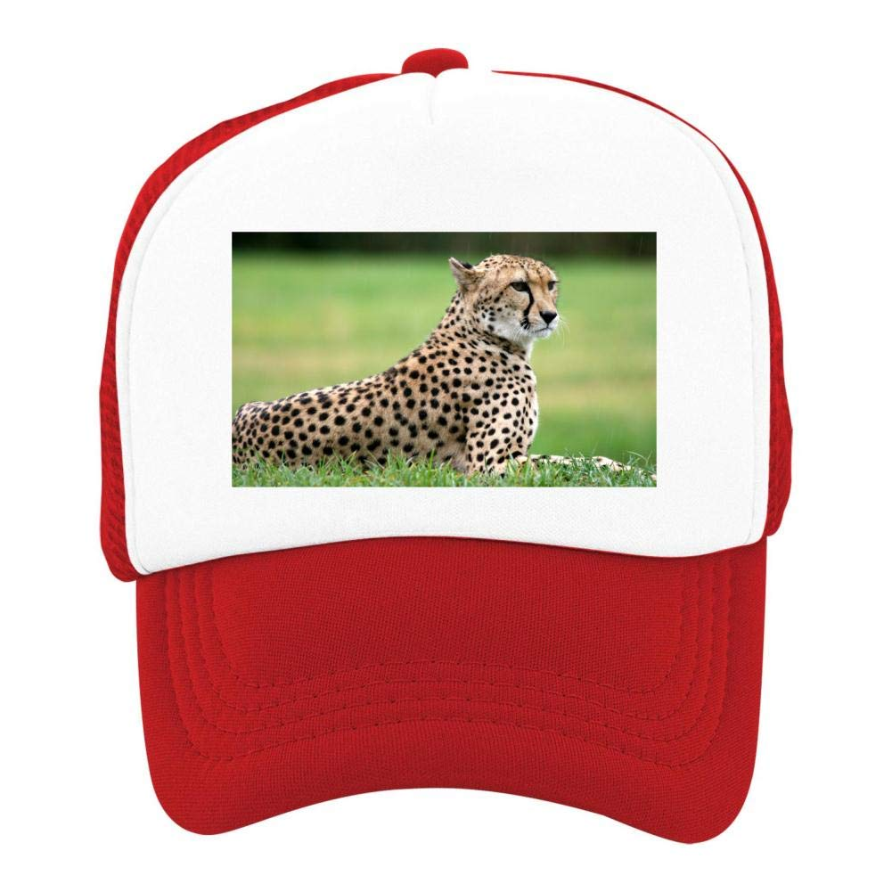 Kids Girls Boys Mesh Cap Trucker Hats Cheetah Adjustable Hat Red