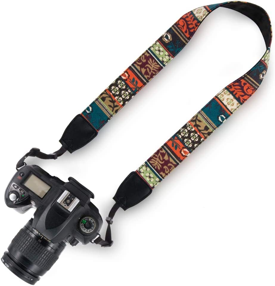 Striped New Elvam Universal Men and Women Camera Strap Belt Compatible with All DSLR Camera and SLR Camera, Yellow Aztec Striped