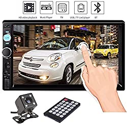 Double Din Car Stereo, Ewalite 7 '' inch Touch Screen In Dash Car Radio Receiver Audio Video Player Supports Bluetooth FM Mp3 MP5/TF/USB/AUX/Subwoofer with Rear View Camera + Remote Control