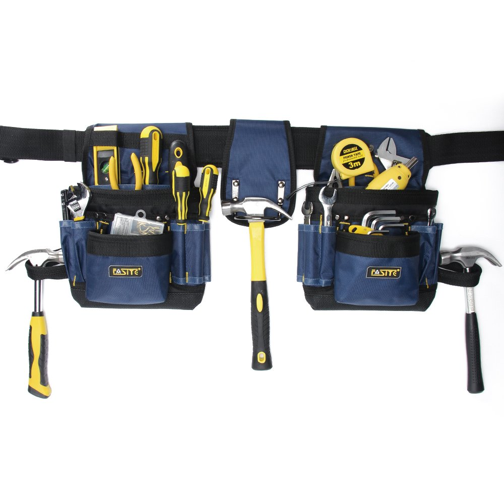 FASITE PTN012A 32-Pocket 2 Pouch Utility Multifunction Tool Belt Bag, Blue by FASITE