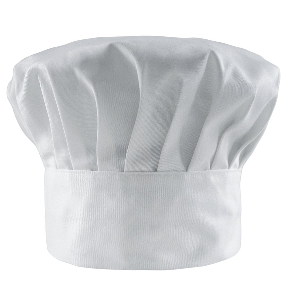LOCOMO Chef Hat Cotton Poly Blend Elastic Band Adult Size FFH336BLKpc1