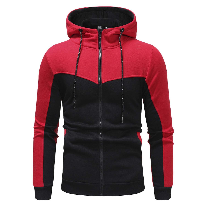 Sweatshirt Mens Autumn Winter Casual Packwork Slim Fit Sweatshirt Hoodies Top Mens Zipper Warm Outdoor Sport Top oct23,Red Top,L