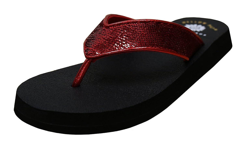 Yellow Box Women's Dawson Metallic Snake Comfort Foam Flip Flop Sandal