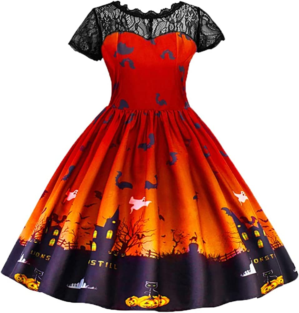 Maritown Girls Casual Dresses Halloween Pumpkin Costume Witch Bat Vintage Lace Swing Dress Princess Dress Halloween Fancy Dress Age 3-10