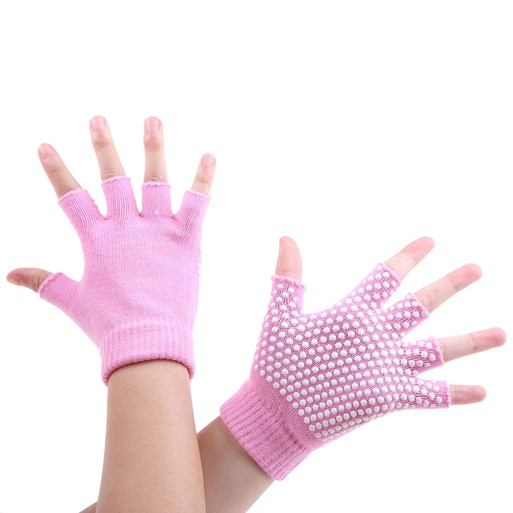 Midress Winter Warm Fingerless Gloves,Unisex Thicken Acrylic Half-Fingers Glove,Women Men Yoga Fitness Gloves Gym Training Sports Non-Slip Bicycle Gloves (Pink)